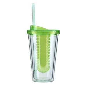 double wall plastic tumbler with straw and fruit infuser