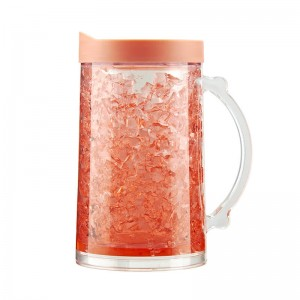 Customized 800ml double wall plastic ice mug