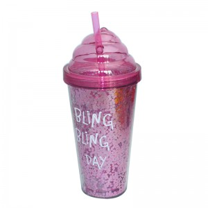 16oz ice cream shaped lid tumbler with straw