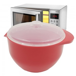 Microwave Soup Oatmeal Bowl Stew Pot with Spout and Splash Cover 1.2L 100%BPA