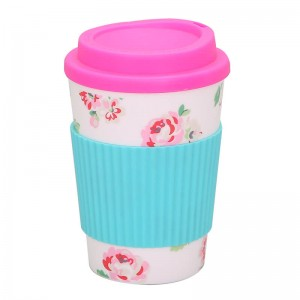 wholesale 350ml travel coffee mug with silicone sleeve