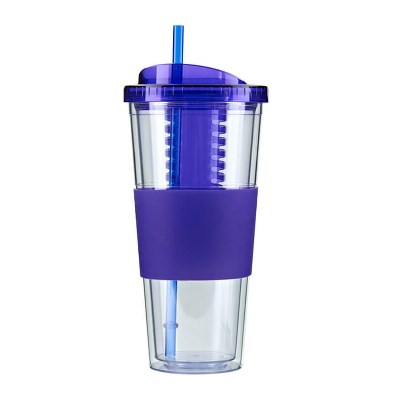double wall plastic tumbler with straw and fruit infuser Featured Image