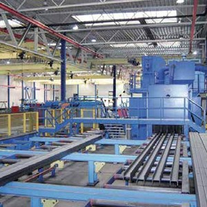 Roller conveyor shot blast machines