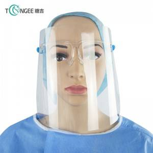 Tongee protective face shield visor anti fog safety clear transparent face shield with glasses holder