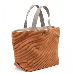 Corduroy Linen Blended Mini Tote Bag with Multiple Pockets