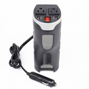 200W Car Power Inverter with Outlets & 2 USB Charging Ports, Cup-Shaped Design, Auto Inverter DC to AC Converter 200W Cup Holder Power Inverter DC 12V to 230V AC Converter with Two USB Ports M...