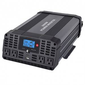 2000w Dc To Ac Power Inverter, Modified Sine Wave, 4 Outlets And Usb Ports