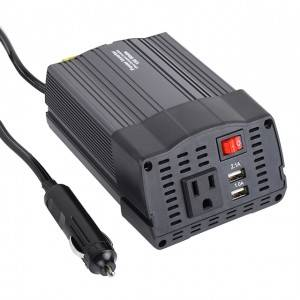 DC 12V to 110V AC Car Converter with 3.1A Dual USB Car Adapter 150W Metal Housing Smart Power Inverter with Dual USB Ports