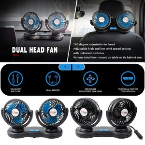 Dual Head Car Fans 12V USB Rechargeable Fan Electric 2 Speed Car Cooling Fan for Car SUV RV Boat Auto Vehicles