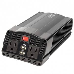 Compact Portable Car Power Inverter 2 Outlet 12V DC to 120V AC w/ 2-Port USB Charging Ports DC 12V to 120V 375W Metal Housing Car Power Inverter AC Inverter with Dual USB Ports for Battery