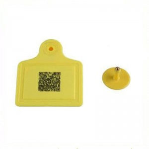 860-960mhz QR code printing rfid livestock ear tag for cattle