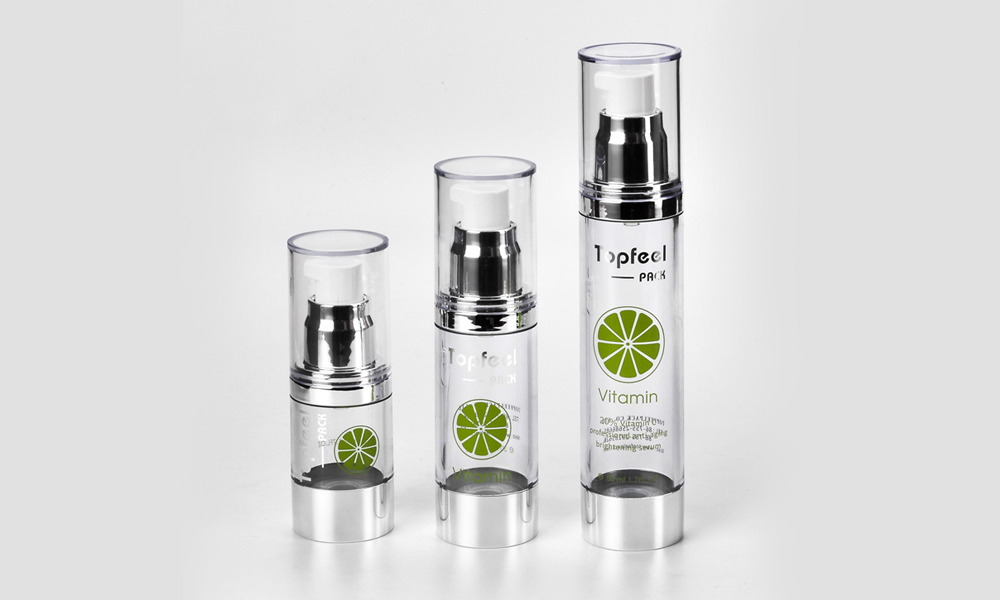 Silver Shoulder Transparent Clear 15ml 30ml 50ml Cosmetic Airless Pump Bottle Featured Image