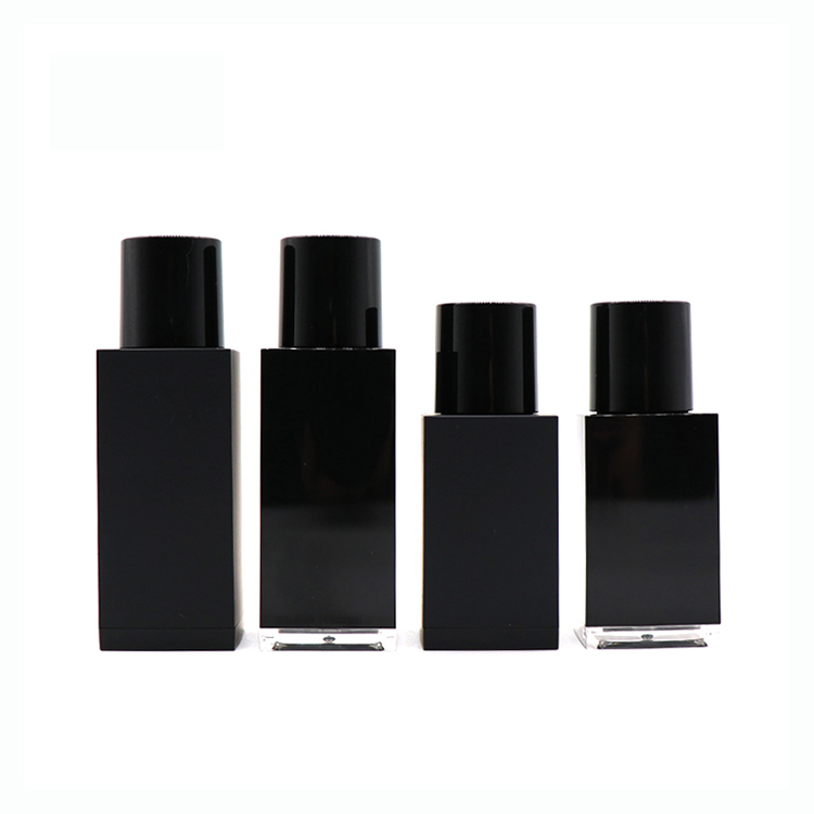 OEM/ODM Factory Airless Lotion Pump - Wholesale 30ml 50ml Empty Black Square Essential Oil Plastic Dropper Bottle  – TOPFEEL PACK detail pictures