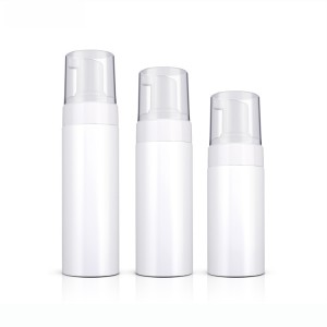 Empty White Plastic PET Face Cleanser Mousse Foam Pump Bottle Wholesale
