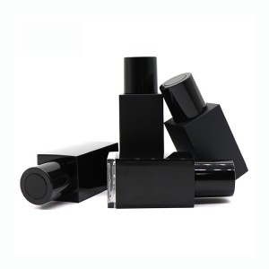 Wholesale 30ml 50ml Empty Black Square Essential Oil Plastic Dropper Bottle