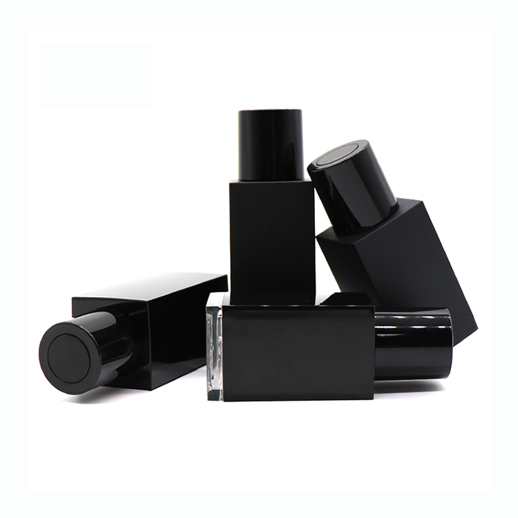 Chinese Professional Cosmetic Airless Pump Bottles - Wholesale 30ml 50ml Empty Black Square Essential Oil Plastic Dropper Bottle  – TOPFEEL PACK detail pictures