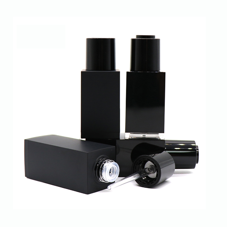 Chinese Professional Cosmetic Airless Pump Bottles - Wholesale 30ml 50ml Empty Black Square Essential Oil Plastic Dropper Bottle  – TOPFEEL PACK