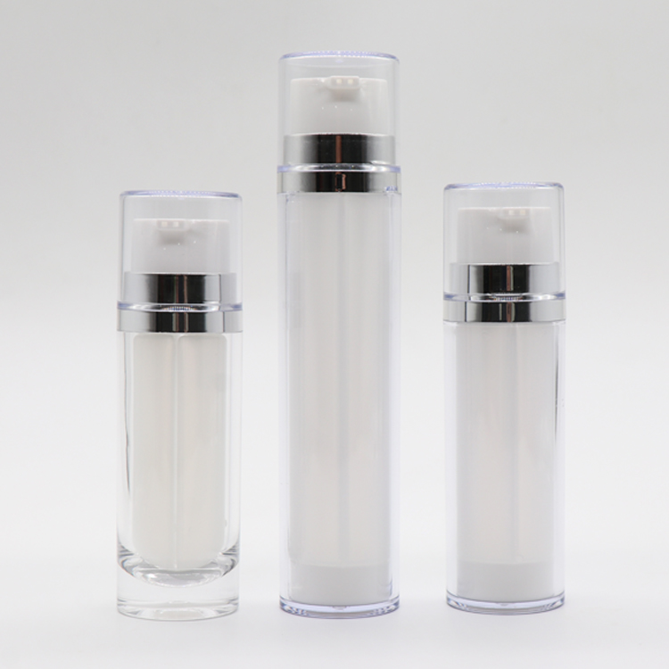 Hot New Products 50ml Airless Pump Bottles - White Packaging Bottle Dual Chamber Cosmetic Plastic Lotion Pump Bottle  – TOPFEEL PACK
