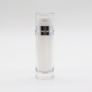 White Packaging Bottle Dual Chamber Cosmetic Plastic Lotion Pump Bottle
