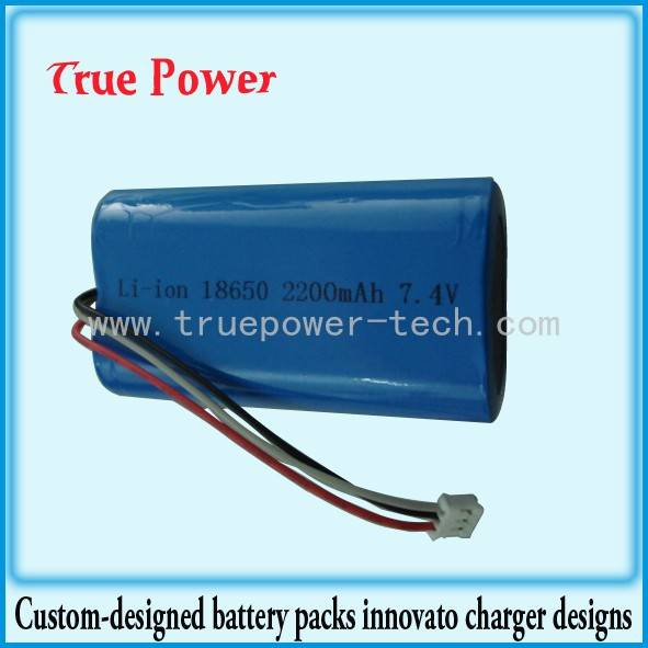 7.4V 2200 mAh (18650*2) Water Proof Rubber Coating