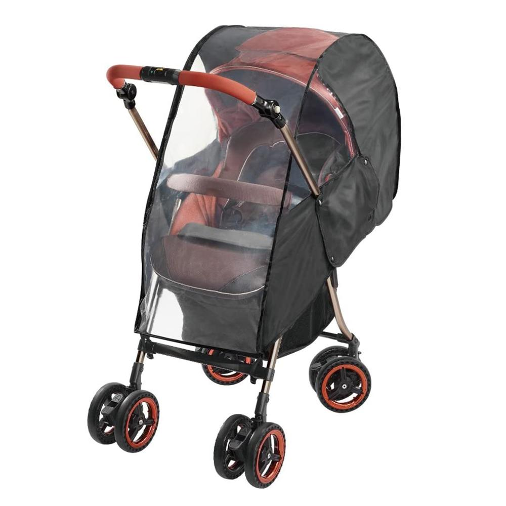 Hot Upgraded Universal Stroller Rain Cover, Double Door Design & Large Storage Baby Stroller Weather Shield