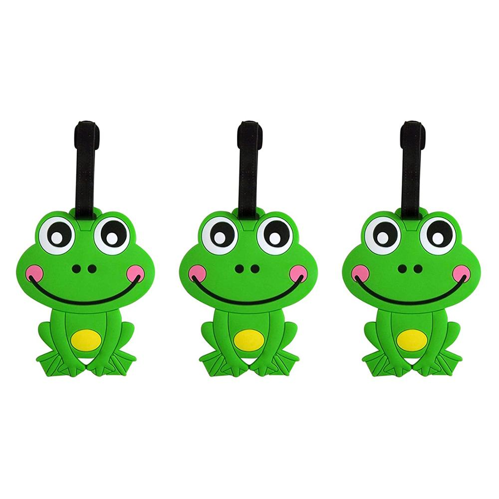 Happy Frog Animal Luggage Tag, 4 Inch, Set of 3