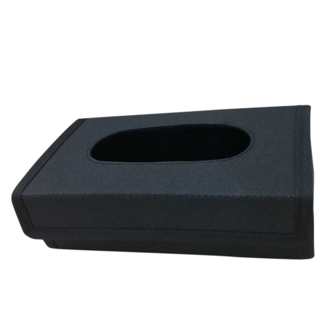 Black foldable tissue box with universal design