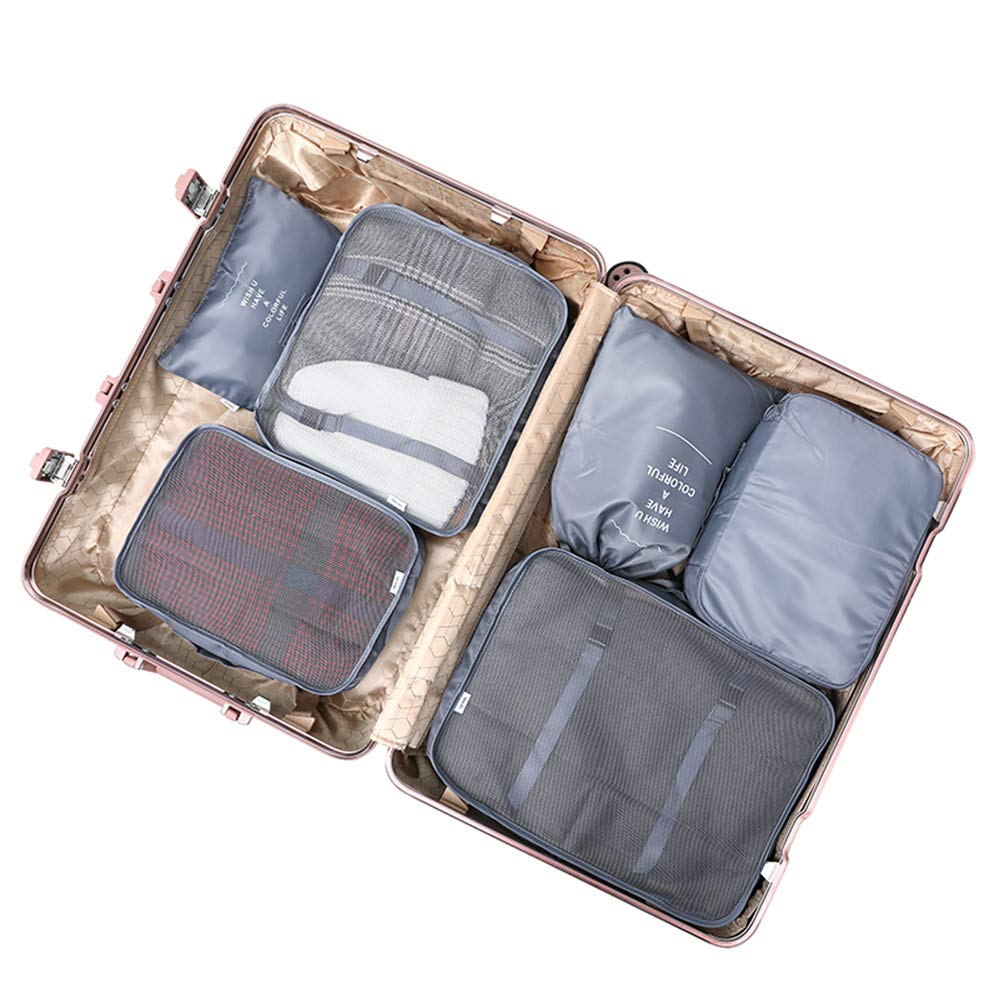 6 Set Travel Storage Bag Multi-functional Clothing Packing Cubes 2019 New Style Suitcase Travel Accessories Cubes (gray)