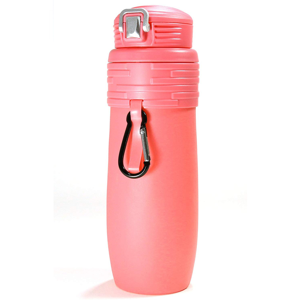 Foldable Silicone Water Bottle Leakproof BPA, Suitable For Any Outdoor Or Sports Activities – 473.2ml, Red Portable Water Bottle