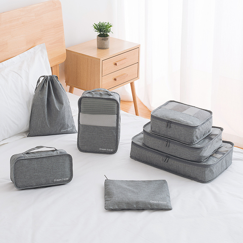 High Quality Large Capacity Travel Organizer Bag Storage Pouch Bag 7pcs/set