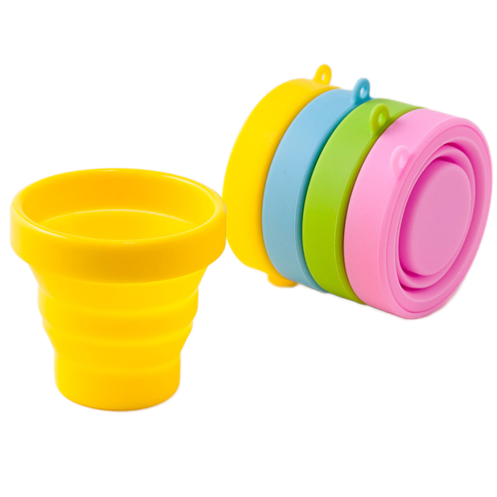 Outdoor tableware Portable Silicone Retractable Folding Water Cup Travel Camping Telescopic Collapsible Soft Drinking Cups