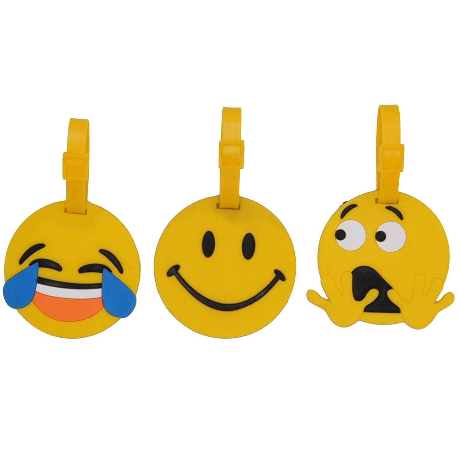 Set of 3 – Hot Cute Kawaii Cartoon Silicone Travel Luggage ID Tag for Bags (Planes), Emoticon