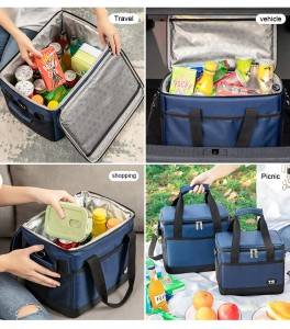 Insulated Lunch Bag for Women/Men – Reusable Lunch Box for Office Work School Picnic Beach – Leakproof Cooler Tote Bag Freezable Lunch Bag with Adjustable Shoulder Strap for Kids/Adult