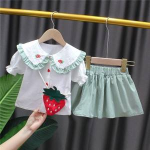 Girls' Tie Front Top and Short Skirt Set