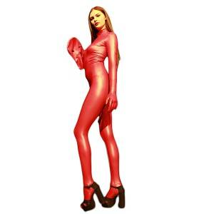 Hot shape wear large size all-inclusive catwalk show jumpsuit sexy spandex latex bodysuit high elastic women's stage costume full-covered catsuit