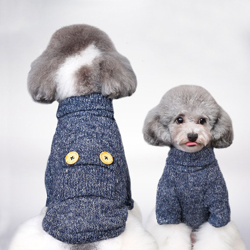 Dog Clothes Spring and Autumn Coat Two-legged Wholesale Sweater Puppy Pet Clothes Small Buttons Breathable Featured Image