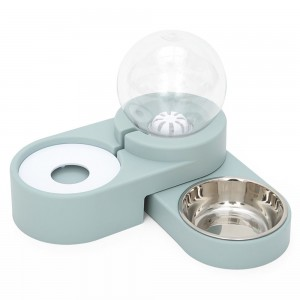 Pet Double Bowl Automatic Water Dispenser Prevent Dog Basin from Overturning