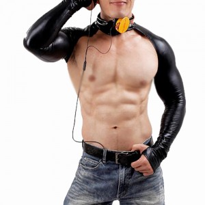 Men's cool collar long gloves cool sexy tight latex ammonia sleeve UV protection