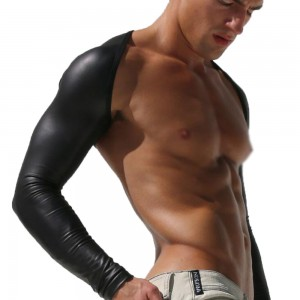 Men's sexy shoulder long arm sleeve matte leather texture personalized shoulder clothing men's sunscreen sleeves