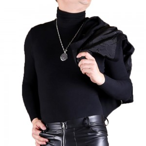 Four-sided High-stretch Plus Velvet Warm High-neck Long-sleeved T-shirt Skinny Slim Bottoming Shirt