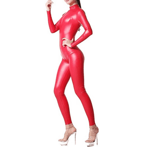HOT shape wear large size all-inclusive catwalk show jumpsuit sexy spandex latex bodysuit high elastic women's stage costume full-covered catsuit  No Gloves No Feet
