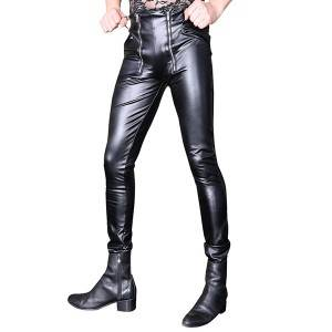 Urban sexy cool men's pants creative PU leather pants Korean version of the three-dimensional double zipper open crotch tight motorcycle pants stitching feet pants