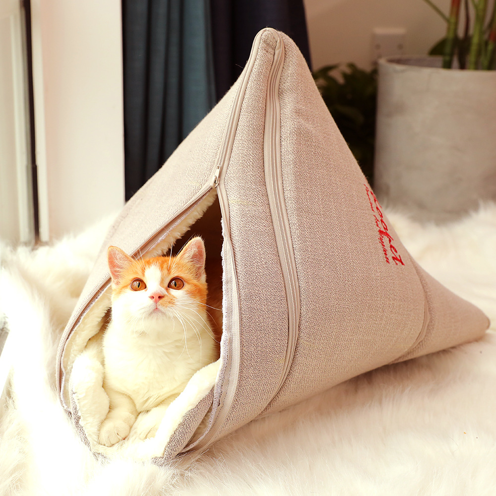 Cat Nest Dog Litter Pet Cat and Dog Bed Small Dog Cat Sleeping Bag Mat Closed Cat House Keep Warm in Winter Featured Image