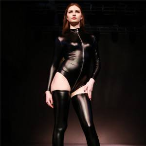 Spandex Latex Leotard Fitness Bodysuit with Crotch Body Sculpting Zipper Catsuit
