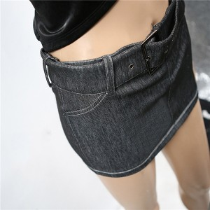 Sexy Ladies Denim Belt Shorts Mini Bag Hip Skirt
