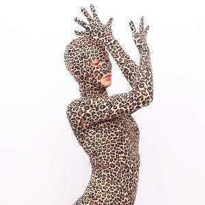 Sexy leopard-print stage full-coated corset tight-fitting film and television shooting game body-shaping jumpsuit