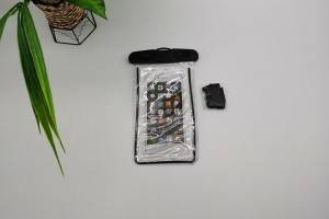 waterproof bag with black header