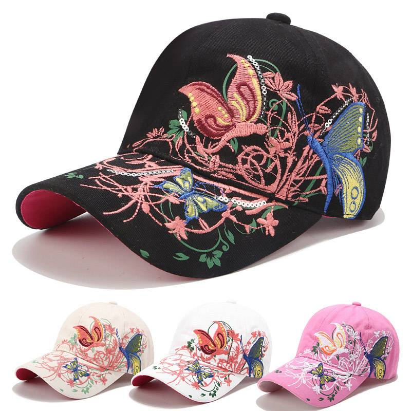Embroidery hat women spring and summer sun protection peaked cap butterfly flower embroidery baseball cap cotton