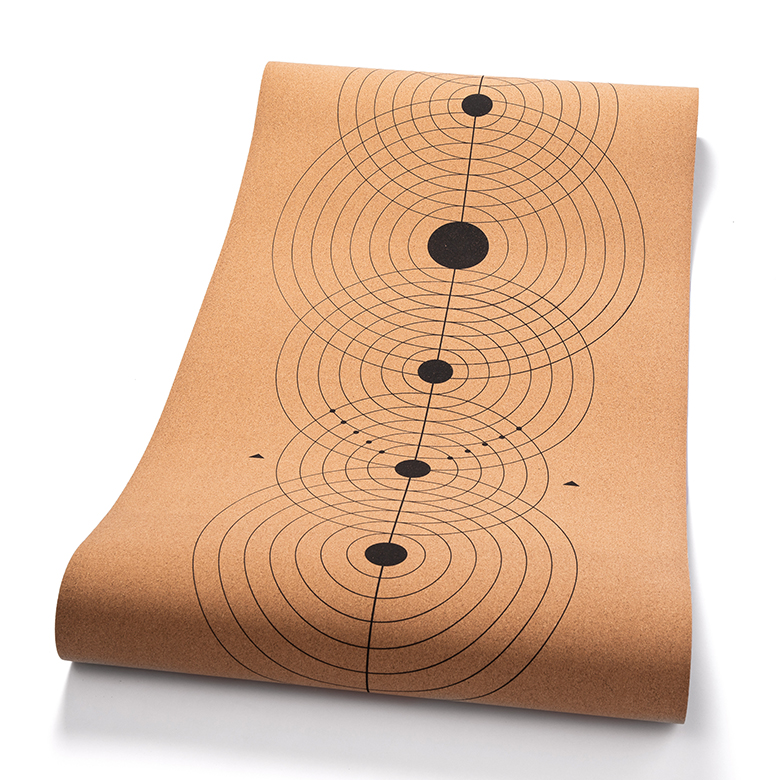 custom print odorless lightweight  laminated concentric circles two  double layer  custom cork yoga mat with carrying strap