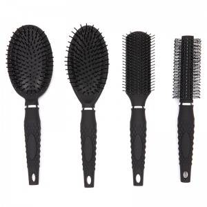 Color rubber coating classic hair brush with design comfortable handle